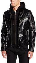Redskins Men's Leather Jacket Long sleeve Jacket - Black