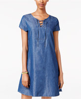 As U Wish Juniors' Lace-Up Denim Swing Dress