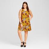 Xhilaration Women's Plus Size Woven Dress Yellow Floral