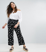 Lovedrobe Floral Drawstring Bubble Crepe Trousers