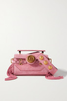 Balmain Bbuzz Baguette Fringed Suede Shoulder Bag - Pink