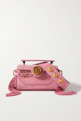 Balmain Bbuzz Baguette Fringed Suede Shoulder Bag - Pink