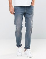 Asos Stretch Slim Jeans In Smokey Blue Wash