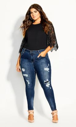 City Chic Asha Slash Skinny Jean - indigo