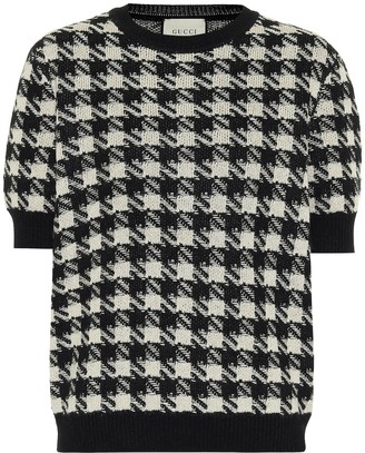 Gucci Houndstooth cashmere and silk top