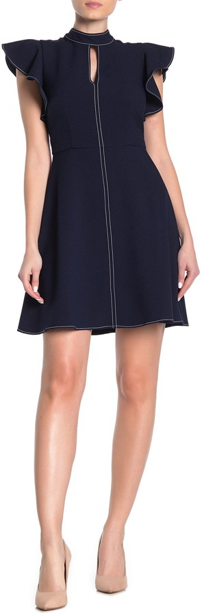 Eliza J Short Flutter Sleeve High Neck Dress