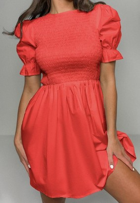Missguided Red Shirred Bust Frill Sleeve Dress