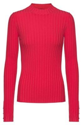 HUGO High-neck sweater in ribbed super-stretch fabric