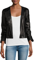 Theory Onorelle Noble Cropped Leather Jacket, Black