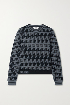 Fendi Jacquard-knit Sweater - Gray