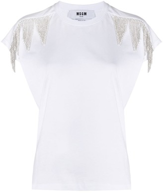 MSGM Fringed Short-Sleeved Top