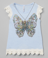 Beautees Blue Lace-Trim Butterfly Scoop Neck Tee & Necklace