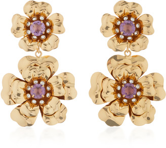 Bounkit Gold-Plated Amethyst and Quartz Earrings