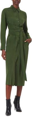 Equipment Jarvisse Long-Sleeve Tie-Waist Silk Midi Dress