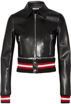 Givenchy Cropped Leather Biker Jacket - Black