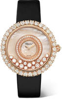 Chopard Happy Dreams 36 Satin, 18-karat Rose Gold, Diamond And Mother-of-pearl Watch