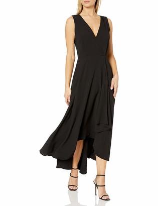 Calvin Klein Women's Sleeveless V-Neck Maxi Dress with Ruffle Skirt