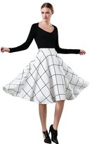 A-line Skirt, Wicky LS Women's High Waisted Skater Pleated Full Midi Skirt