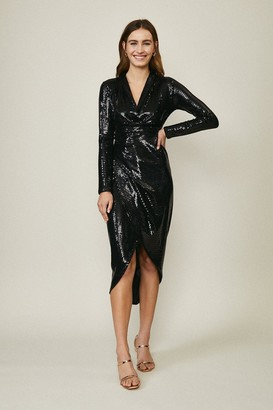 Coast Metallic Drape Detail Dress