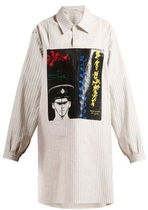 J.W.Anderson X Gilbert & George-print Striped Cotton Shirt - Womens - White Multi