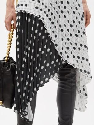 Thebe Magugu High-rise Fingerprint-print Crepe Midi Skirt - White Black