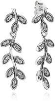 Pandora Drop Earrings - Sterling Silver & Cubic Zirconia Sparkling Leaves