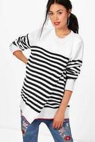 boohoo Womens Maternity Evelyn Stripe Wrap Knitted Jumper