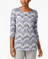 Alfred Dunner Petite Zig-Zag Lace Necklace Top