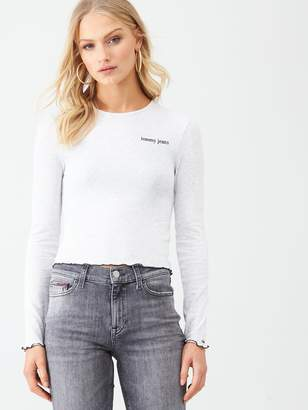 Tommy Jeans Logo Detail Long Sleeve Top - Oatmeal