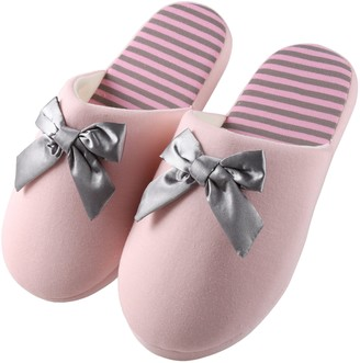 Aerusi Waffle Stripes and Bow Slipper