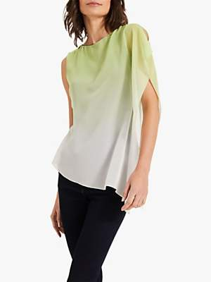 Phase Eight Camille Ombre Chiffon Top, Lime