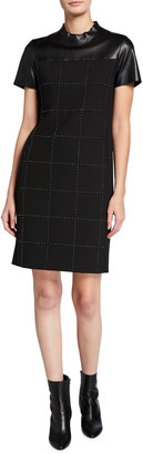 Akris Punto Short-Sleeve Pebble Crepe Drop-Grid Dress
