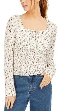 Polly & Esther Juniors' Printed Smocked-Waist Peasant Top