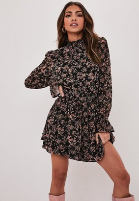 Missguided Black Floral High Neck Shirred Mini Dress