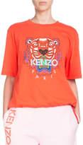 Kenzo Tiger-Motif Crewneck Short-Sleeve Cotton T-Shirt