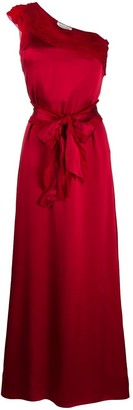 Valentino Pre Owned Pleated Single Shoulder Evening Dress
