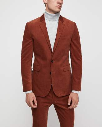 Express Extra Slim Rust Corduroy Suit Jacket