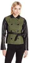 New Look Women's Mixed Faux Leather and Twill Belted Jacket