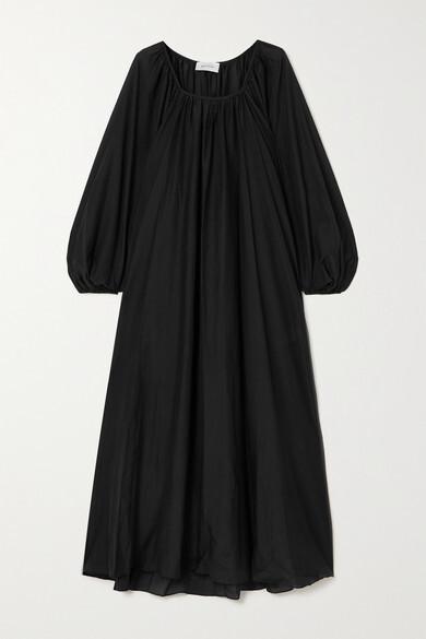 Matteau + Net Sustain Decolette Oversized Organic Cotton And Silk-blend Maxi Dress - Black