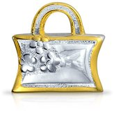 Bling Jewelry Gold plated Flower Purse Charm Bead .925 Sterling Silver