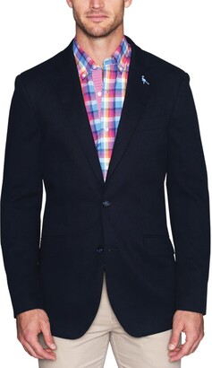 Tailorbyrd Navy Diamond Textured Two Button Notch Lapel Modern Fit Sport Coat