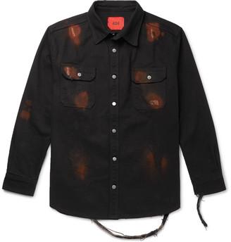 424 Oversized Distressed Printed Denim Shirt