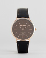 Barbour Bb055brbk Date Leather Watch In Black