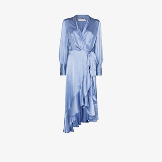 Zimmermann Asymmetric Silk Wrap Midi Dress