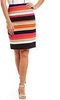 Kasper Colorblock Scuba Crepe Striped Pencil Skirt