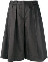 Jil Sander Navy pleated wide-leg shorts - women - Cotton/Acetate/Cupro - 36