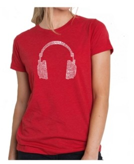 LA Pop Art Women's Premium Word Art T-Shirt - 63 Different Genres of Music