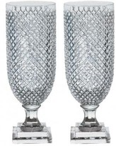 The Well Appointed House Pair of Two Glass Diamond Cut Hurricanes
