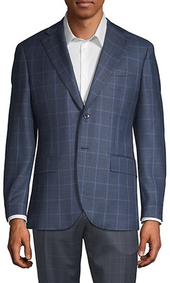Lubiam Windowpane Check Wool Sport Jacket