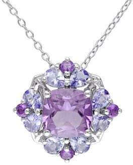 Sonatina Sterling Silver, Amethyst and Tanzanite Halo Cluster Floral Pendant Necklace